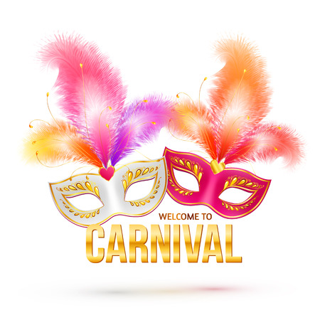 welcome party: Bright carnival masks with feathers and golden sign Welcome to Carnival