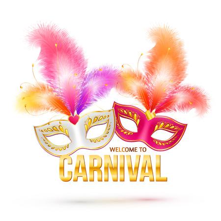 mascaras de carnaval: Máscaras de carnaval con plumas brillantes y signo de oro Bienvenido a Carnaval