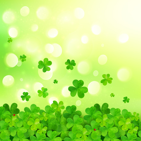 shamrock: Light green vector background with clovers