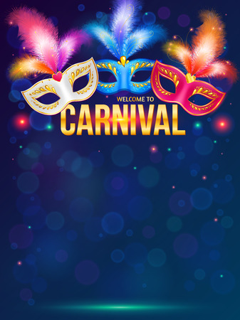 Bright carnival masks on dark blue background Illustration