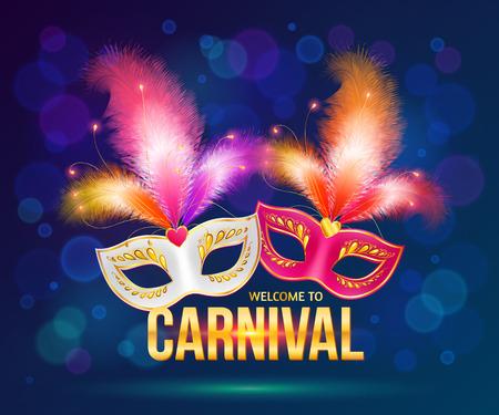 Bright carnival masks on dark blue background Ilustrace