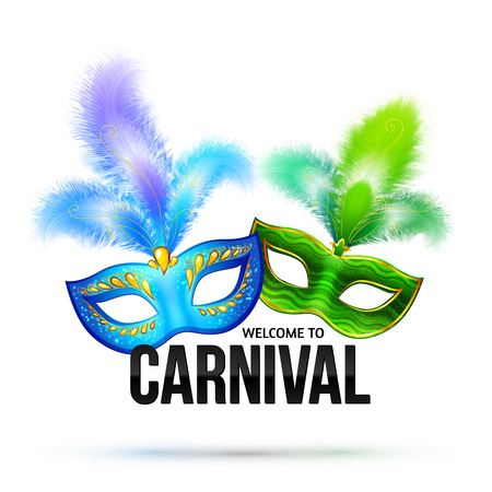 Bright carnival masks with feathers and black sign Welcome to Carnival Vectores