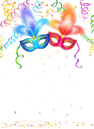 costume ball: Bright carnival masks with confetti and serpentine on white background