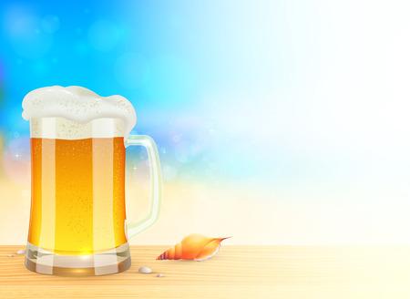 Mug of light beer on summer sea blurred background Vector