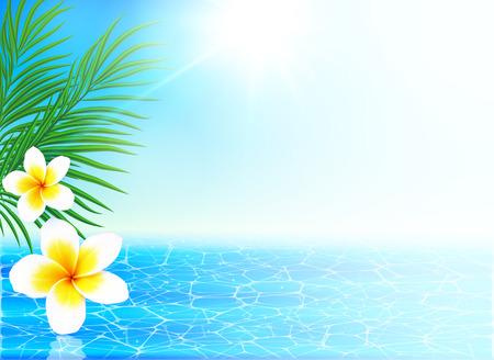 잔잔한 바다와 열대 꽃 여름 배경