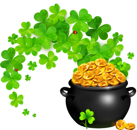 golden pot: pot of magic gold with clovers swirl Illustration
