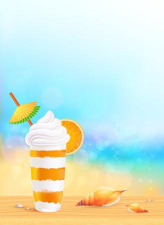 frozen drink: Glass of exotic orange cocktail on beach background Illustration