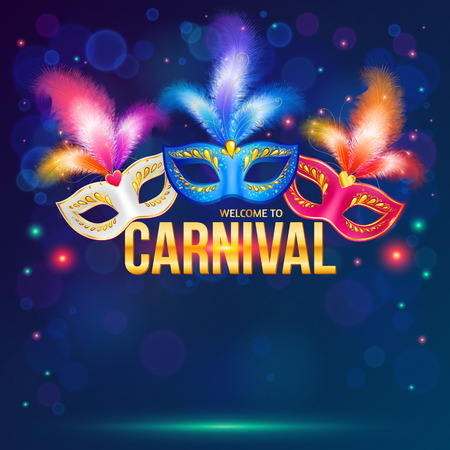 flyer party: Bright carnival masks on dark blue background Stock Photo
