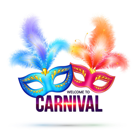 venice mask: Bright carnival masks with feathers and shining sign Welcome to Carnival Illustration