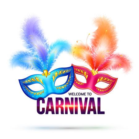 carnaval: Masques de carnaval lumineuses avec plumes et brillant signe Bienvenue � Carnaval