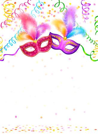 Carnaval maskers met confetti en serpentine op een witte achtergrond Stock Illustratie