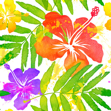 colorful background: Bright watercolor tropical flowers vector seamless pattern Illustration