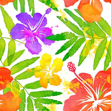鮮やかな水彩熱帯花ベクターのシームレスなパターン