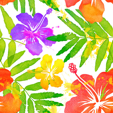 Bright watercolor tropical flowers vector seamless pattern Illustration