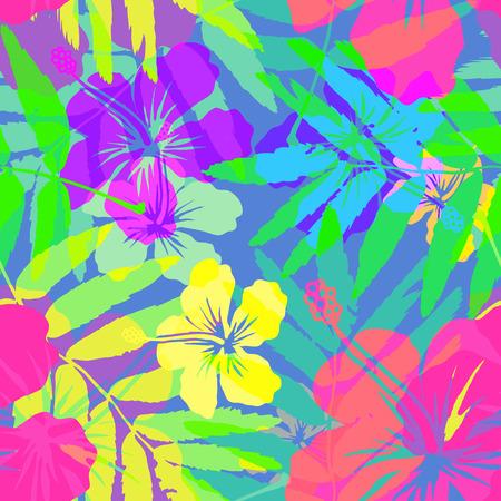 Vivid colors bright tropical flowers vector seamless pattern 일러스트