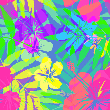 Vivid colors bright tropical flowers vector seamless pattern Illustration