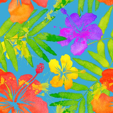 vivid colors: Vivid colors tropical flowers vector seamless pattern Illustration