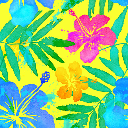 tropical leaves: Vivid colors tropical flowers vector seamless pattern Illustration