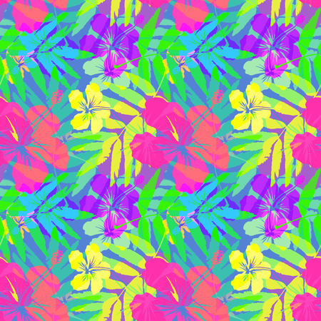 Vivid tropical flowers and leaves vector seamless pattern Ilustração