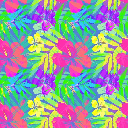 Vivid tropische bloemen en bladeren vector naadloze patroon
