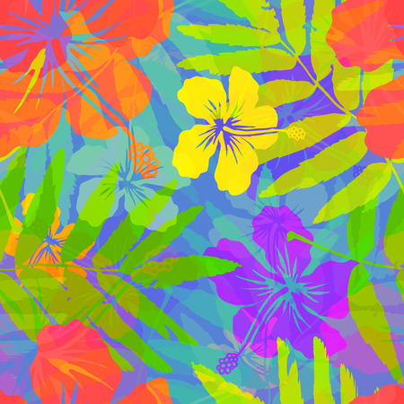 neon plant: Bright tropical flowers vector seamless pattern Illustration