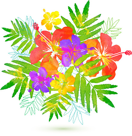 Bright tropical flowers vector summer bouquet Imagens - 40810860