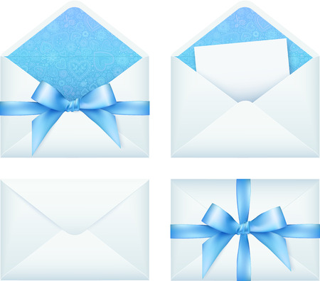 Blue envelope with ribbon, vector set Vector