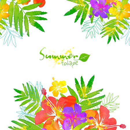Bright tropical flowers vector summer frame Фото со стока - 40812807