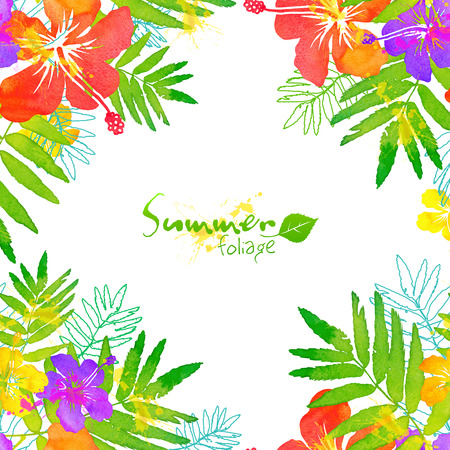 hibiscus background: Bright tropical flowers vector summer frame