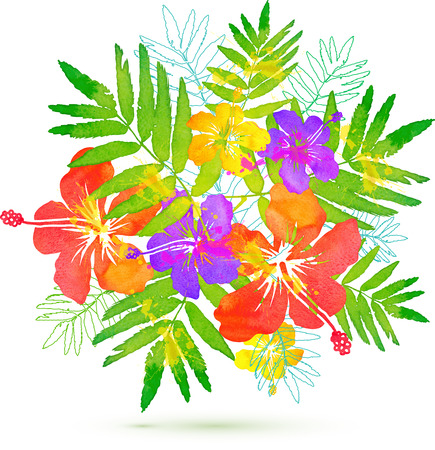 Bright tropical flowers vector summer bouquet Фото со стока - 40812913