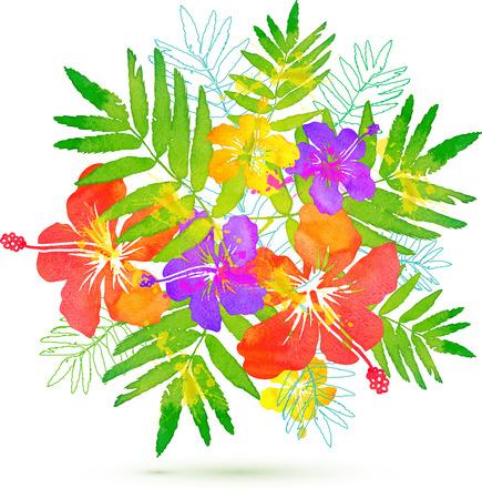 Bright tropical flowers vector summer bouquet