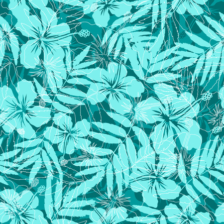 monstera leaf: Blue tropical flowers silhouettes seamless pattern