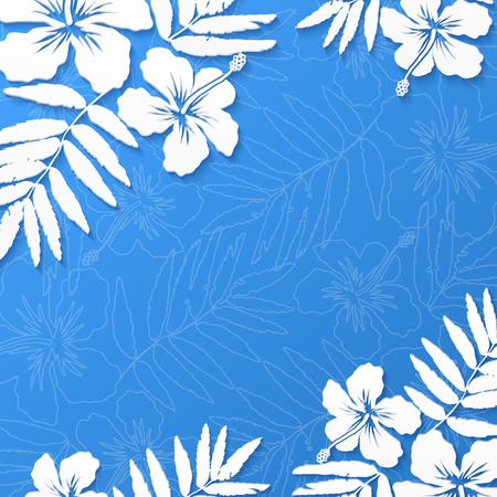 White paper tropical flowers on blue summer background Illustration