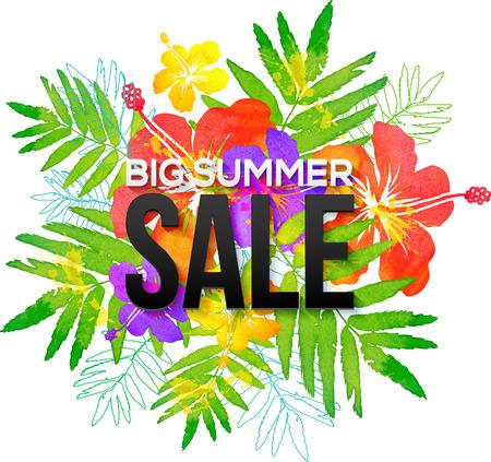 Aquarel tropische bloemen boeket met zwarte Big Summer Sale teken