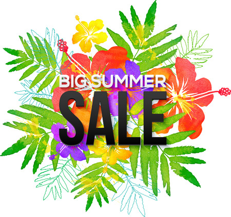 summer sale: Watercolor tropical flowers bouquet with black Big Summer Sale sign