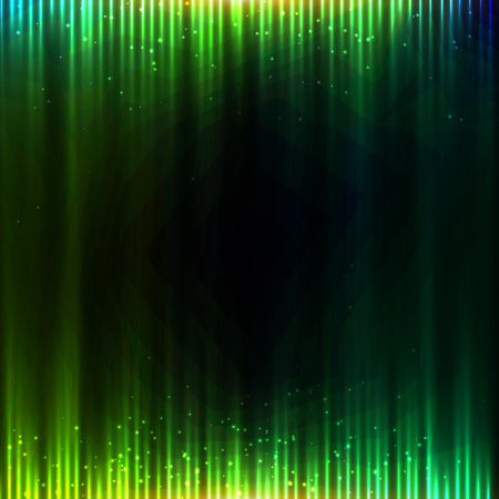 merry dancers: Green shining equalizer vector abstract background
