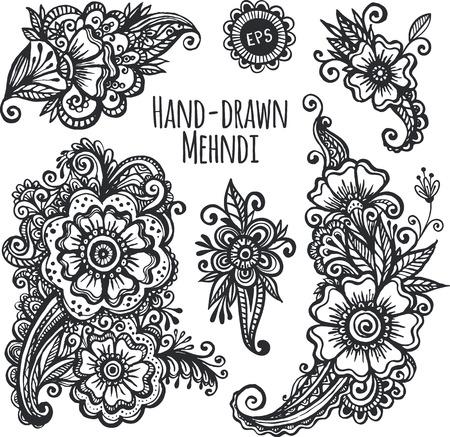 tatouage fleur: Fleurs de mehendi dessinées à la main vector set