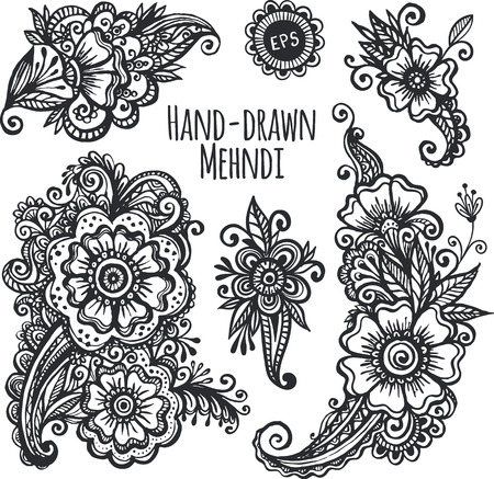 henna background: Hand-drawn mehendi flowers vector set Illustration