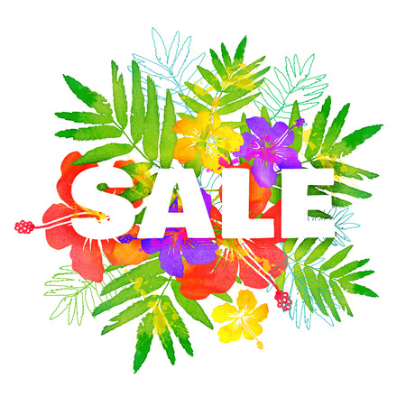 watercolor tropical flowers bouquet with black big summer sale