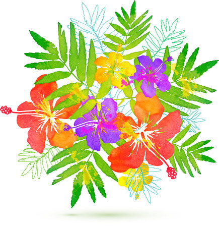 Bright tropical flowers vector summer bouquet Imagens - 41080644