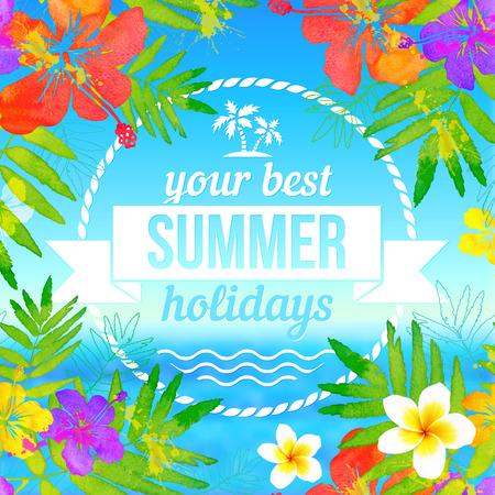 Su mejor etiqueta vacaciones de verano en la tropical flores paisaje de fondo marino