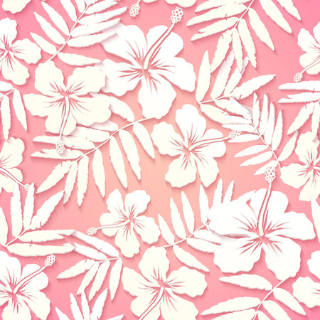 tropical leaves: White paper tropical flowers on pink background, seamless pattern Illustration