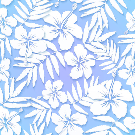 White cutout paper flowers on blue background seamless pattern Vector