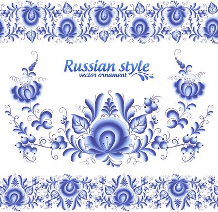 gzhel: Blue floral stripes seamless pattern in Russian gzhel style Illustration