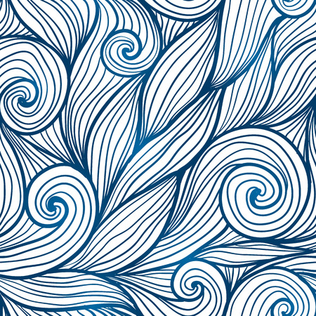 waves pattern: Blue doodle hair waves seamless pattern Illustration
