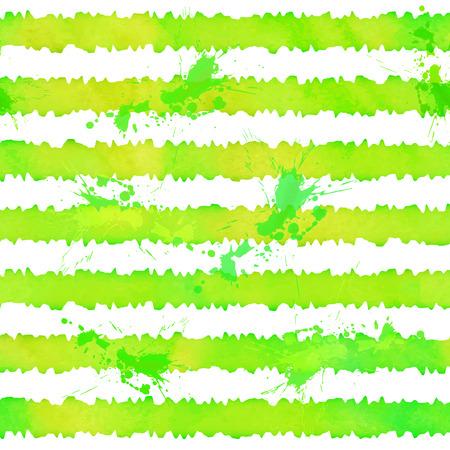 stripes pattern: Green watercolor stripes vector seamless pattern Illustration