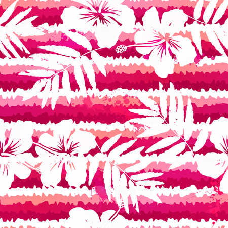 pink stripes: White flowers and grunge pink stripes seamless pattern Illustration