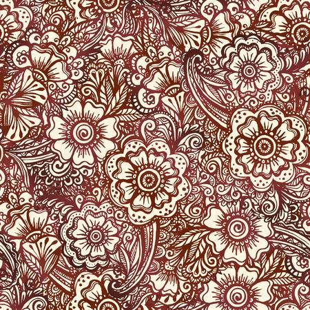 Seamless pattern in Indian henna mehndi style Vector