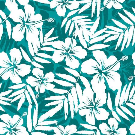 hawaiana: Azul y flores tropicales blancas siluetas patrón sin fisuras Vectores