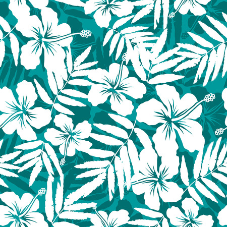 Blue and white tropical flowers silhouettes seamless pattern Ilustração